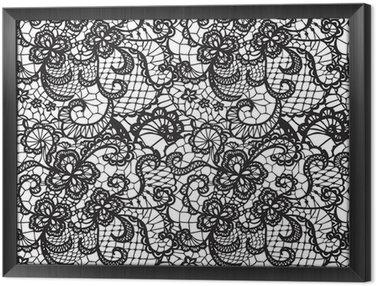 Ingelijst Canvas Kant zwarte naadloze patroon met bloemen op witte achtergrond