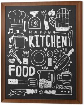 Ingelijst Canvas Keuken elementen doodles hand getekende lijn pictogram, eps10