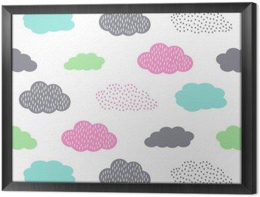 Ingelijst Canvas Kleurrijke naadloze patroon met wolken voor de kinderen vakantie. Schattige baby shower vector achtergrond. Child tekenstijl illustratie.