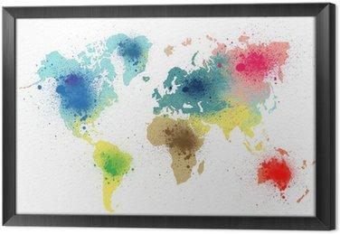 Ingelijst Canvas Kleurrijke wereldkaart met verf spatten