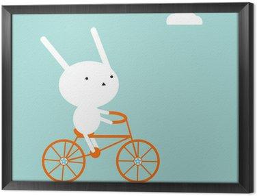 Ingelijst Canvas Konijntje op een fiets