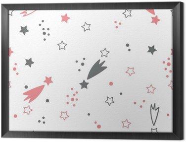 Ingelijst Canvas Leuk naadloos patroon met sterren. ruimte achtergrond