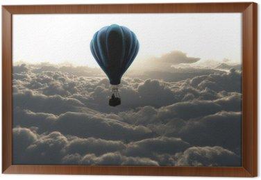 Ingelijst Canvas Luchtballon boven de wolken