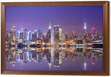Ingelijst Canvas Manhattan Skyline met Reflections