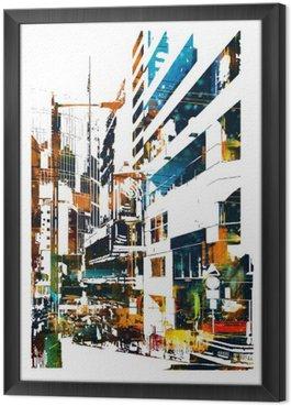 Ingelijst Canvas Moderne stedelijke stad, illustration painting