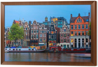 Ingelijst Canvas Nacht uitzicht op de stad van de Amsterdamse gracht met Nederlandse huizen