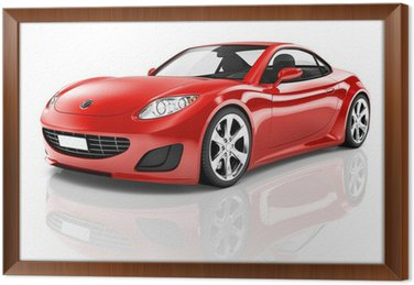 Ingelijst Canvas Red 3D Sportwagen
