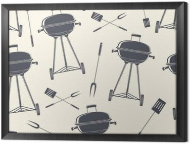 Ingelijst Canvas Retro BBQ grill, naadloos patroon.