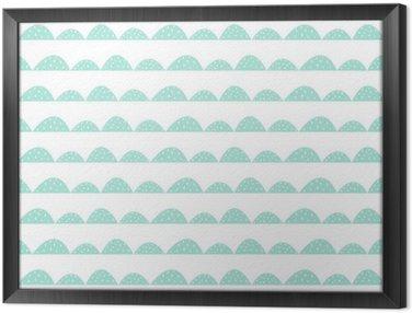 Ingelijst Canvas Scandinavian naadloze munt patroon in de hand getekende stijl. Gestileerde heuvel rijen. Wave eenvoudig patroon voor stof, textiel en babygoed.
