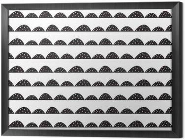 Ingelijst Canvas Scandinavische naadloze zwart-wit patroon in de hand getekende stijl. Gestileerde heuvel rijen. Wave eenvoudig patroon voor stof, textiel en babygoed.
