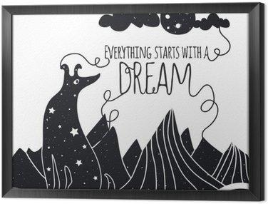 Ingelijst Canvas Schattige romantische vector illustratie met hond kijkt naar de maan. Alles begint met een droom. Sterren, bergen en wolken.