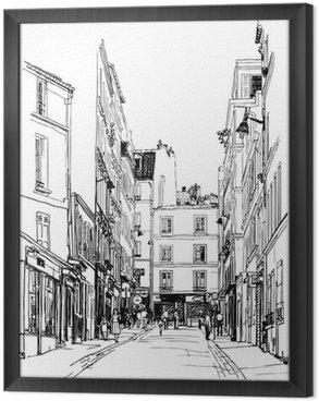 Ingelijst Canvas Straat in de buurt van Montmartre in Parijs