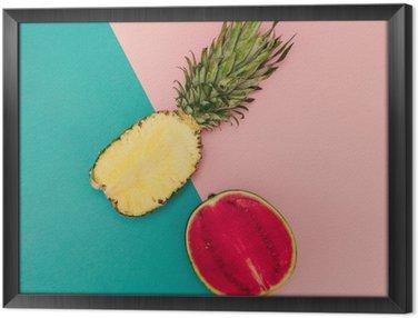 Ingelijst Canvas Tropical Mix. Ananas en watermeloen. minimalistische stijl