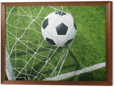 Ingelijst Canvas Voetbal voetbalveld stadion gras lijn bal achtergrond textuur