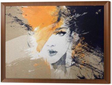 Ingelijst Canvas Vrouw portret .abstract aquarel Mode-achtergrond