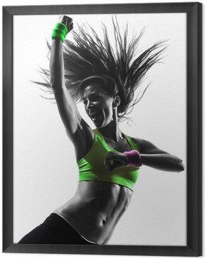 Ingelijst Canvas Vrouw uitoefening fitness zumba dansen silhouet