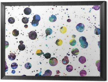 Ingelijst Canvas Watercolor galaxy achtergrond.