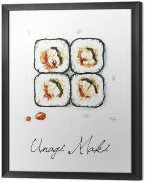 Ingelijst Canvas Watercolor Voedsel Schilderij - Unagi Maki
