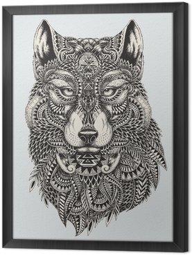 Ingelijst Canvas Zeer gedetailleerde abstracte wolf illustratie