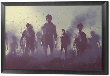 Ingelijst Canvas Zombie menigte lopen 's nachts, halloween concept, illustratie painting