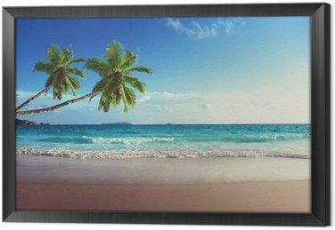 Ingelijst Canvas Zonsondergang op het strand van de Seychellen