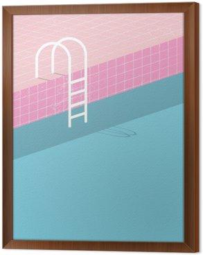 Ingelijst Canvas Zwembad in vintage stijl. Oude retro roze tegels en witte ladder. Zomer poster achtergrond sjabloon.