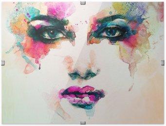 Ingelijste HD Poster Vrouw portret .abstract aquarel Mode-achtergrond