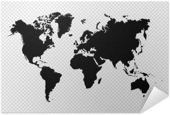 Musta siluetti eristetty maailman kartta eps10 vektori tiedosto. Itsestäänkiinnittyvä Juliste