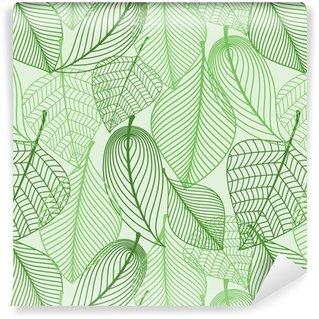 Vihreät lehdet saumaton kuvio tausta Itsestäänkiinnittyvä Tapetti