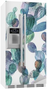 Kaktuskuvio akvarellityylissä Jääkaappitarra
