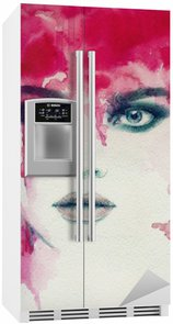 Kaunis nainen. vesiväri kuva Jääkaappitarra