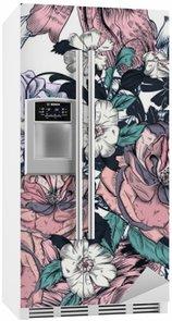 Kaunis saumaton malli käsin ruusuilla ja kukoistaa Jääkaappitarra