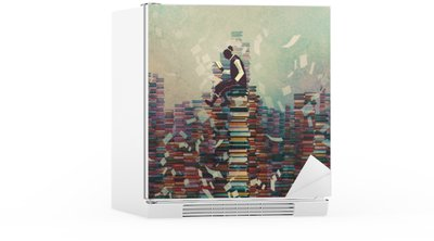 Mies lukukirja istumassa kasa kirjoja, tietämys konsepti, kuvitus maalaus Jääkaappitarra