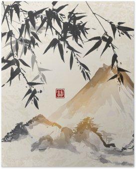 Bambu ja vuoret. perinteinen japanilainen mustemaalaus sumi-e. sisältää hieroglyfit - kaksinkertainen onnea. Juliste