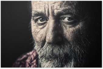 Hyvin vanha, kodittomat vanhempi mies muotokuva Juliste