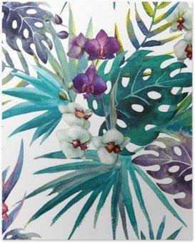 Kuvio orkidea hibiscus lähtee vesiväri tropiikista Juliste