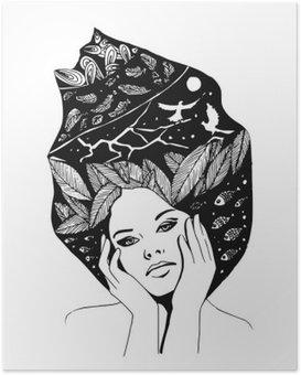 Kuvitus, graafinen mustavalkoinen muotokuva naisesta Juliste