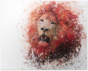 Leijonan pään akvarelli Juliste