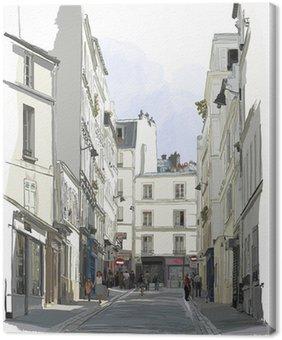 Kadun lähellä Montmartrea Pariisissa Kangastuloste