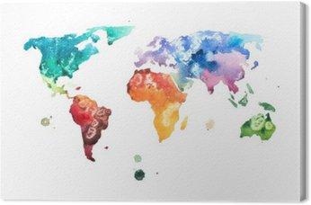 Käsin piirretty vesiväri maailman kartta akvarelle kuva. Kangastuloste