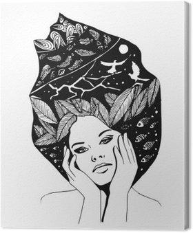 Kuvitus, graafinen mustavalkoinen muotokuva naisesta Kangastuloste