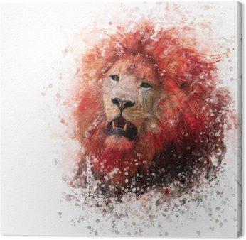 Leijonan pään akvarelli Kangastuloste