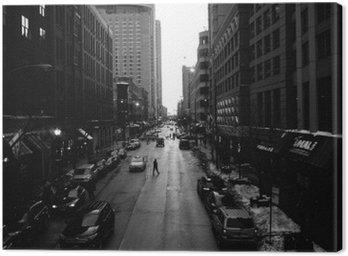Mustavalkoinen chicago kaduilla Kangastuloste