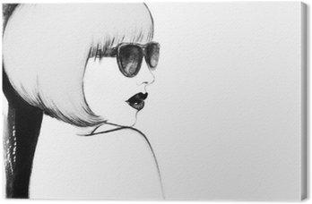 Nainen lasit. vesiväri kuva Kangastuloste