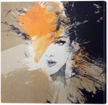 Nainen muotokuva. abstrakti vesiväri. muodin tausta Kangastuloste