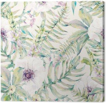 Vesiväri lehti saumaton kuvio saniaisia ja kukkia Kangastuloste