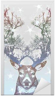 Kapı Çıkartması Dondurulmuş ağaç boynuz geyik