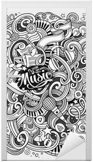 Kapı Çıkartması Karikatür elle çizilmiş karalamalar Müzikal illüstrasyon