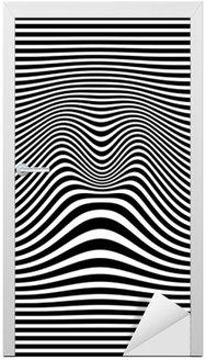 Kapı Çıkartması Op sanat soyut geometrik desen siyah ve beyaz vektör çizim