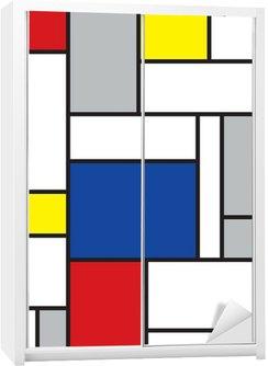 Kaststicker Mondriaan geïnspireerde kunst